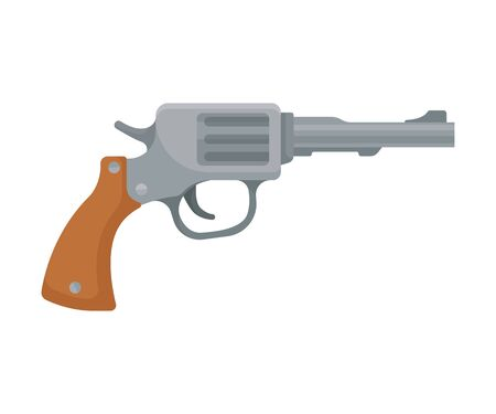 Vintage gray pistol with a brown grip. Vector illustration on a white background.  イラスト・ベクター素材