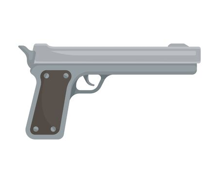 Gray gun with a long barrel. Vector illustration on a white background.  イラスト・ベクター素材