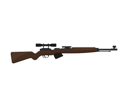Brown sniper rifle with scope. Vector illustration on a white background.