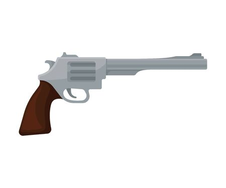 Gray old fashioned revolver with a brown handle. Vector illustration on a white background.