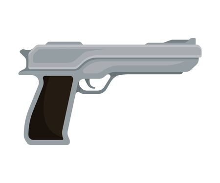 Gray metallic modern pistol with a black handle. Vector illustration on a white background.