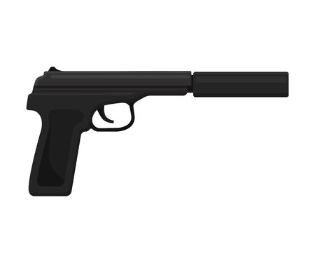 Black realistic pistol with a silencer. Vector illustration on a white background. 版權商用圖片 - 129229683