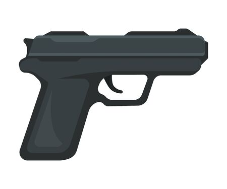Small black modern realistic gun. Vector illustration on a white background.