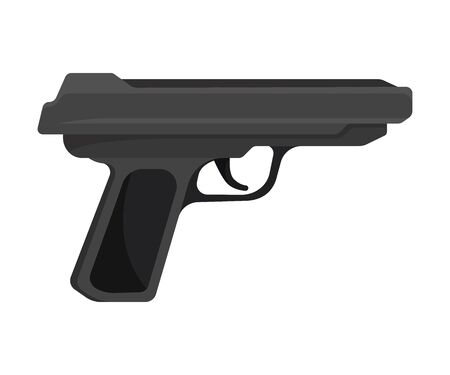 Black metal gun with a plastic handle. Vector illustration on a white background.