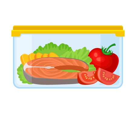 Container with a piece of red fish tomato and lettuce. Vector illustration on a white background.