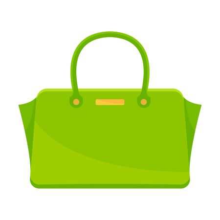 Bright green rectangular bag with gold accessories. Vector illustration on a white background. Illustration
