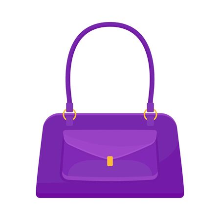 Purple small women bag with a pocket. Vector illustration on a white background. Illustration