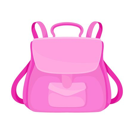 Pink female stylish backpack. Vector illustration on a white background.