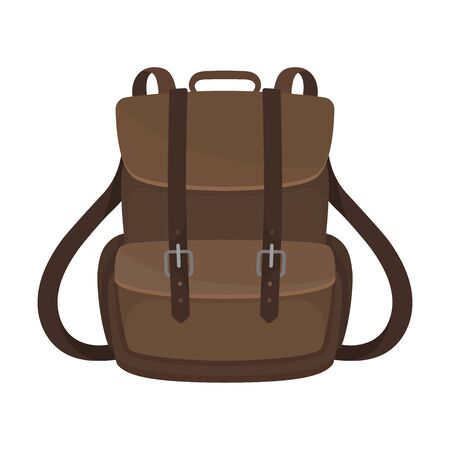 Brown backpack with two straps and a large pocket. Vector illustration on a white background.