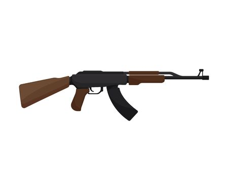 Black machine gun with a wooden handle. Vector illustration on a white background.