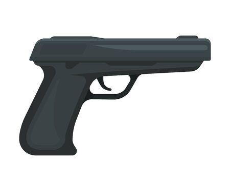 Black modern gun. Vector illustration on a white background.  イラスト・ベクター素材