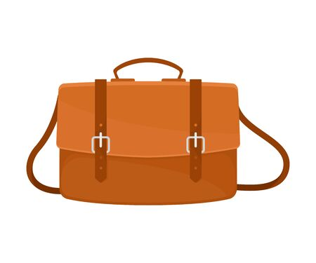 Leather brown briefcase with two buckles and a long strap. Vector illustration on a white background. Illustration