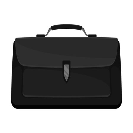 Black classic briefcase. Vector illustration on a white background.