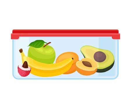 Container with apple, banana, apricot and avocado. Vector illustration on a white background.