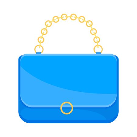 Light blue handbag with a gold chain. Vector illustration on a white background.