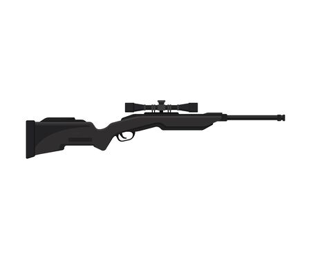 Modern black sniper rifle with scope. Vector illustration on a white background.