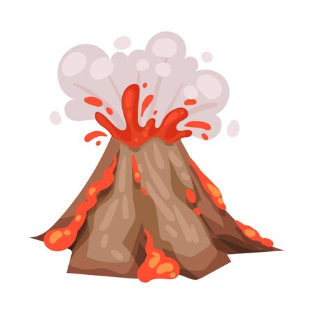 Eruption. Lava and smoke from the crater. Vector illustration on a white background. Stock Illustratie