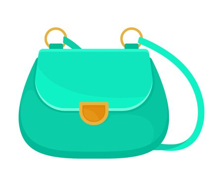 Turquoise handbag with a gold buckle. Vector illustration on a white background.