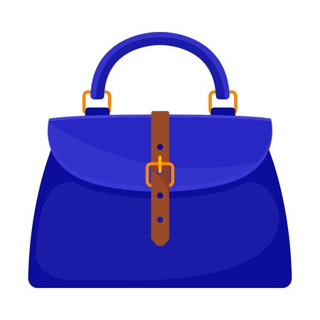 Blue handbag with a brown belt and a gold buckle. Vector illustration on a white background. Illustration