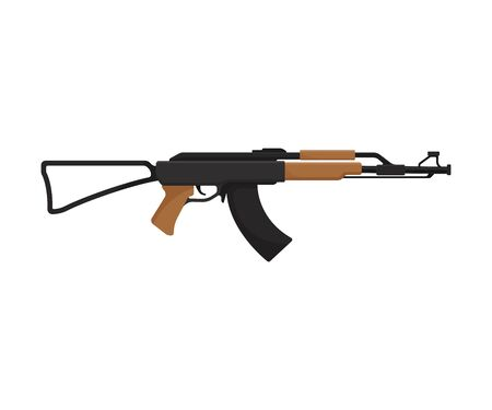 Army assault rifle with a butt stock and wooden elements. Vector illustration on a white background.