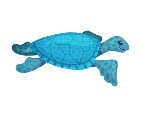 Big sea blue turtle. Vector illustration on a white background. 向量圖像