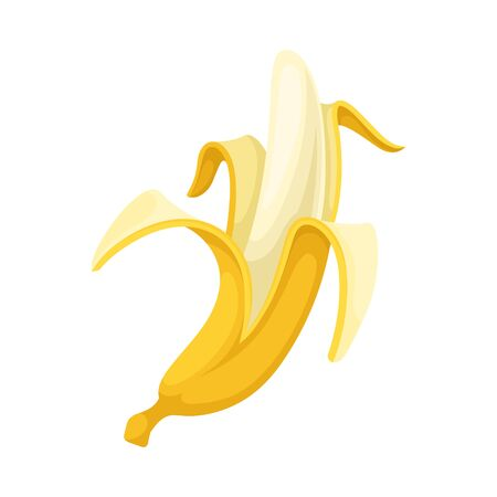 Partially peeled banana. Vector illustration on a white background.