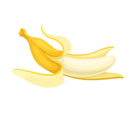 Peeled banana. Vector illustration on a white background.