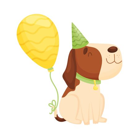 Cute beagle in a striped green cap sits. Vector illustration on a white background.