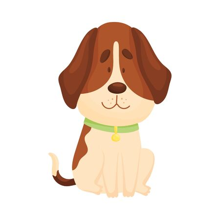 Cute beagle is sitting. Front view. Vector illustration on a white background. Иллюстрация