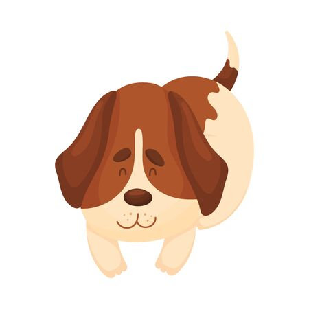 Cute beagle lies. Vector illustration on a white background.