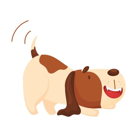 Cute beagle wags its tail. Vector illustration on a white background.
