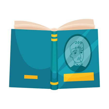 Open book with a blue cover. Vector illustration on a white background. Ilustração