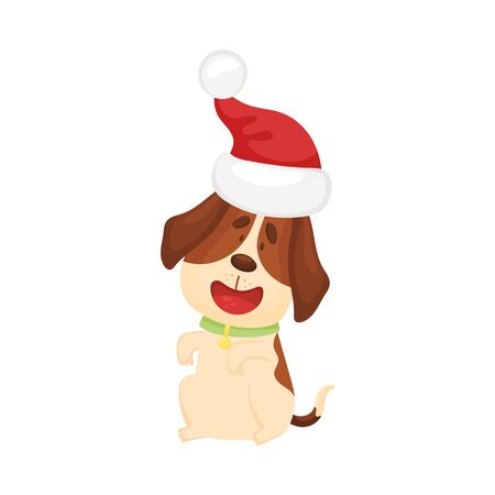 Cute beagle in a christmas hat. Vector illustration on a white background.