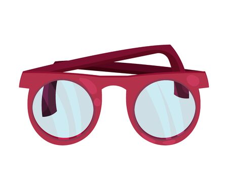 Glasses in a red frame. Vector illustration on a white background. Иллюстрация