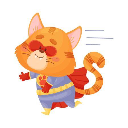 Cartoon cat superhero runs. Vector illustration on a white background.