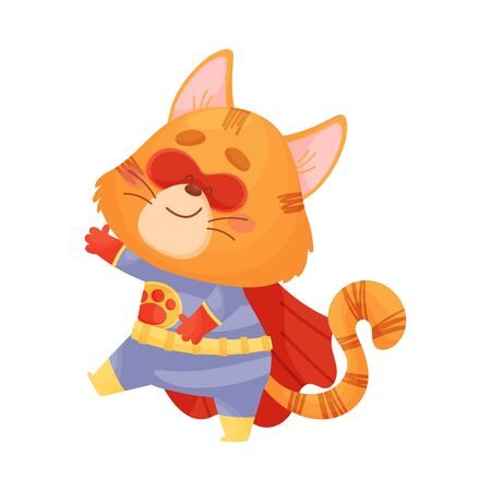 Cartoon cat superhero is coming. Vector illustration on a white background.