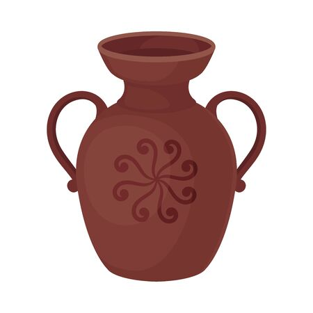 Clay jug with two handles. Vector illustration on a white background.