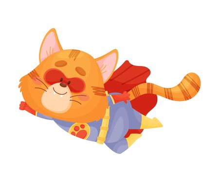 Cartoon cat superhero flies to the left. Vector illustration on a white background.