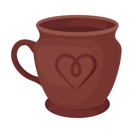 Clay mug with a handle. Vector illustration on a white background.