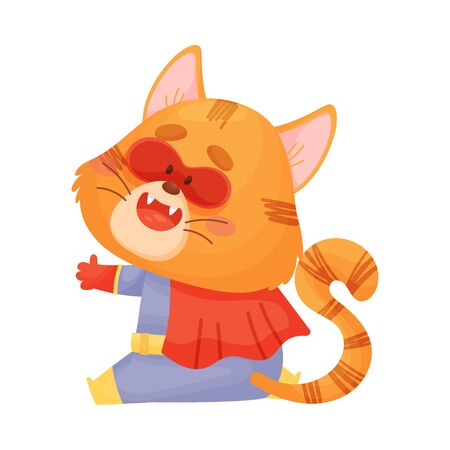 Cartoon cat superhero with a red cloak sits. View from the back. Vector illustration on a white background. Ilustração