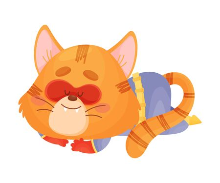 Cartoon cat superhero sleeping. Vector illustration on a white background. 向量圖像