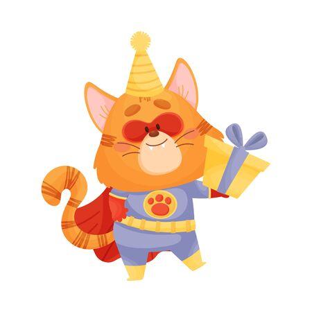 Cartoon cat superhero with a gift. Vector illustration on a white background. Ilustração