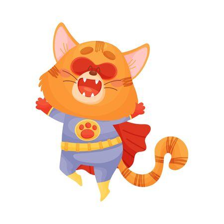 Cartoon cat superhero jumping up. Vector illustration on a white background. Ilustração