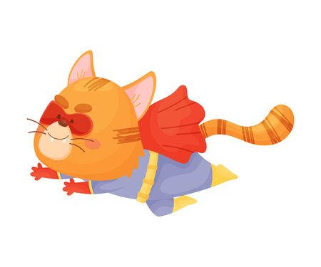 Cartoon cat superhero is flying fast. Vector illustration on a white background.