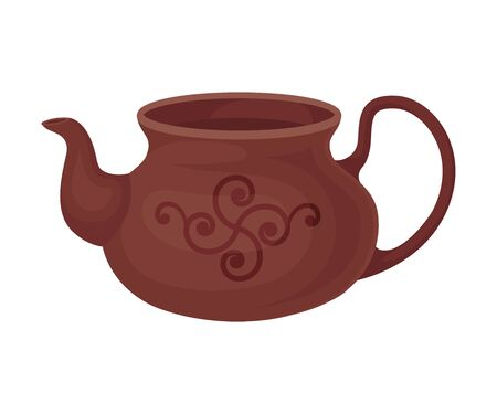 Clay brown teapot without a lid. Vector illustration on a white background.  イラスト・ベクター素材