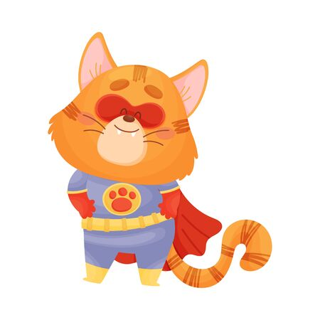 Cartoon cat superhero holds his hands on his belt. Vector illustration on a white background. Ilustração