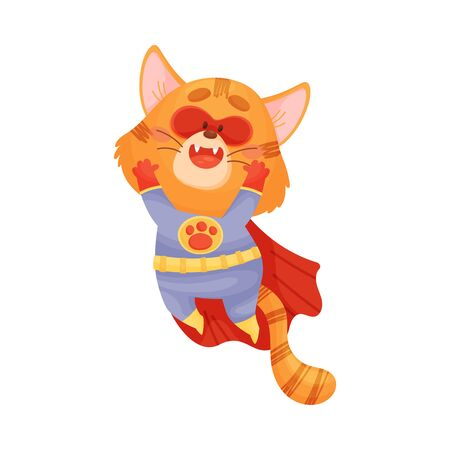 Cartoon red cat superhero jumping. Vector illustration on a white background.
