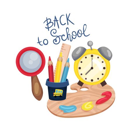 School composition from an alarm clock, a magnifying glass, a palette and an inscription Back to school. Vector illustration on a white background. Illustration