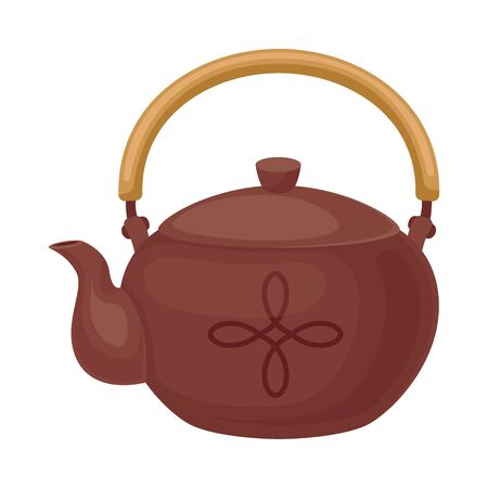 Clay teapot with a wooden handle. Vector illustration on a white background.