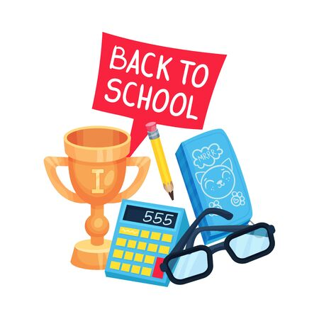School composition of a golden cup, calculator and the inscription Back to school. Vector illustration on a white background.